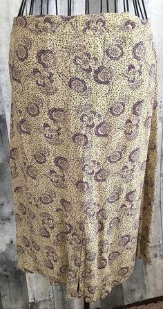 Free People Print Skirt Pleated Purple Black Ivory Geometric Floral Size 3/4 #FreePeople #Skirt
