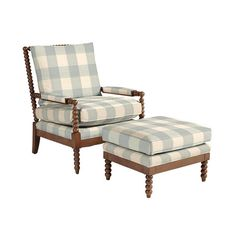 Shiloh Spool Chair and Ottoman - Buffalo Check Spa