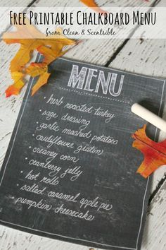 Free printable chalkboard menu.  Perfect for Thanksgiving or Christmas dinner. // cleanandscentsible.com