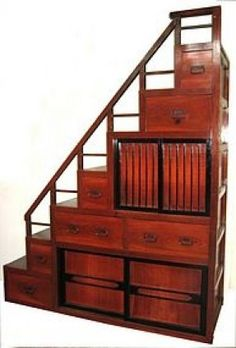 """The Japanese """"kaidan tansu"""" or step chest was and sometimes is used as An actual staircase. Could make an awesome staircase to the loft with a drop down desk or slide out desk top! Japanese Furniture, Asian Furniture, Japanese Interior, Japanese Design, Furniture Design, Japanese Style, Style Asiatique, Loft Stairs, Tiny Studio"""
