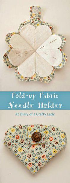 Fold-up Fabric Needle Holder || Diary of A Crafty Lady