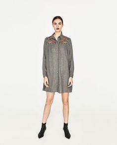 画像 1 の 刺繍入りシャツドレス  ザラから
