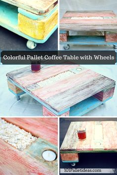 Colorful Pallet Coffee Table with Wheels | 101 Pallet Ideas