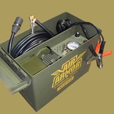 tire inflator Air Armor with gauge, tire repair kit, direct drive fast air pump, air hose, ball foot air chuck in military ammo can. Great off-road Portable Air compressor for Cars and Trucks. Dodge Dakota, Ford Ranger, Truck Mods, Jeep Mods, Truck Parts, Ammo Cans, Portable Air Compressor, Jeep Xj, Jeep Wrangler