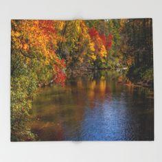 Autumn on the River Throw Blanket