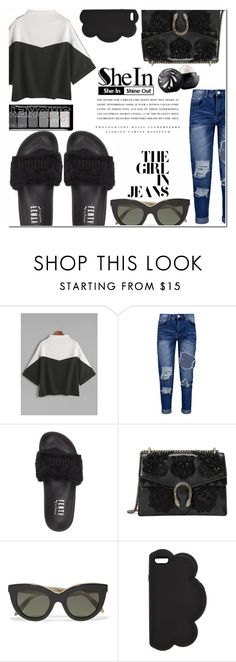 """colour block & chill."" by zorionxx ❤ liked on Polyvore featuring Boohoo, Puma, Gucci, Victoria Beckham, STELLA McCARTNEY, Kerr® and Eos"