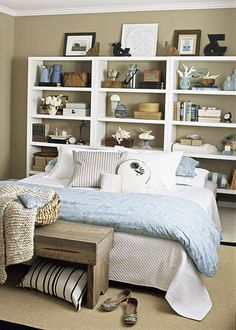 great way to declutter the bedroom- turn the whole wall into a multi functional headboard/night stand!