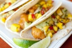 IPA-Battered Fish Tacos with Mango Salsa and Avocado Crema