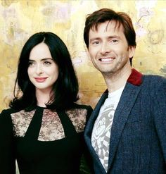 PHOTO OF THE DAY - 8th August 2017: David Tennant with Krysten Ritter at the Jessica Jones press conference - 2015