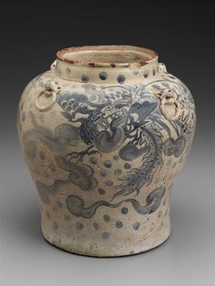 Jar, Vietnam, Nguyễn dynasty, Gia Long reign (1802–19). Stoneware with cream wash, underglaze cobalt blue and molded decoration, Bát Tràng kilns. Overall: 22.8 x 22 cm (9 x 8 11/16 in.) Other (Diam…