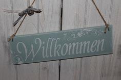 Tür- & Namensschilder - willkommen schild holz shabby - ein Designerstück von InasNordlichter bei DaWanda