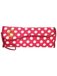 Hot Pink White Dots Insulated Flat Iron Case Hot Pink Trim