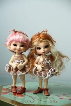 My girls returned from the spa :) Fairy Dolls, Bjd Dolls, Doll Toys, Crochet Doll Pattern, Crochet Dolls, Baby Fairy, Doll Painting, Polymer Clay Dolls, Cute Dolls
