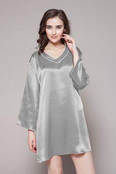 Short Round Neck Silk Nightgowns For Women Long Silk Nightgown 1c5487588