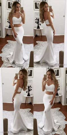 Prom Dresses 2018 2017 two piece prom dresses,sexy mermaid prom dresses,long white prom dresses,prom dresses for women Prom Dresses Two Piece, Prom Dresses For Teens, Prom Dresses 2018, Long Prom Gowns, Cheap Prom Dresses, Sexy Dresses, Formal Dresses, Party Dresses, Dress Party