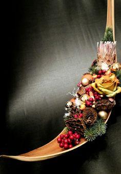 Natale christmas protea legno  artificiale bacche noel