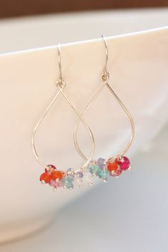 Multi-Color Gemstone Earrings, Argentium Sterling Silver, Tear Drop, June July November Birthstone, Gemstone Cluster - Priscilla, by Princess Ting Ting Jewelry @ Etsy