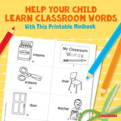 Teach your 3 to 5-year-old all about the important items in his new classroom with this school-inspired printable.