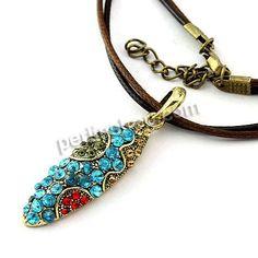 Zinklegierung Halskette, mit Lederband, mit Verlängerungskettchen von 5cm, Tropfen, plattiert, mit Strass, frei von Nickel, Blei & Kadmium, ...