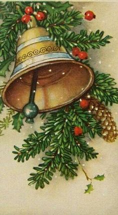 Idea for hand painted christmas cards. Painted Christmas Cards, Vintage Christmas Images, Old Christmas, Christmas Scenes, Retro Christmas, Christmas Bells, Victorian Christmas, Christmas Pictures, Christmas Greetings
