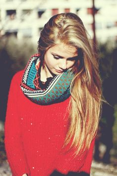 red sweater + infinity scarf.