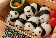 Panda rice balls: Not exactly bento, but still cute