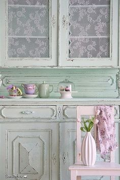Shabby Chic Living I have always loved lace inside the cabinet doors!!!pretty!!