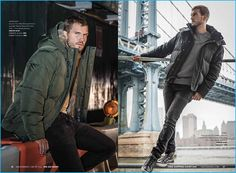 Parker Hurley models down jackets from Andrew Marc's fall-winter 2016 men's…