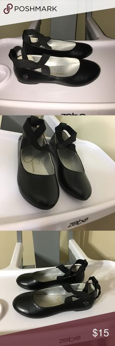 Jessica Simpson girls black flats sz 2 Jessica Simpson girls black flats sz 2 good condition wore once - one shoe has a scuff on the front but i covered with black shoe dye so it's not that visible. Jessica Simpson Shoes Dress Shoes
