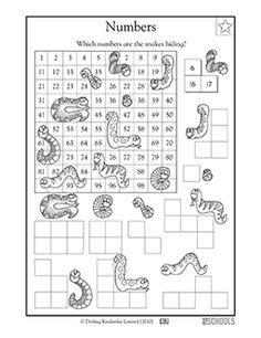 Which numbers are the snakes hiding? This coloring math worksheet gives your child practice counting, ordering numbers, and solving number puzzles.