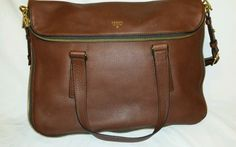 Leather Fossil Preston Tote Convertible Purse Bag - Brown in Clothing, Shoes & Accessories | eBay