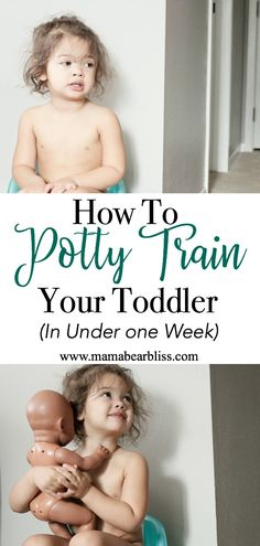 Toddler sitting on potty seat - how to toilet train in one week the easy way   www.mamabearbliss.com #pottytraining #toilettraining