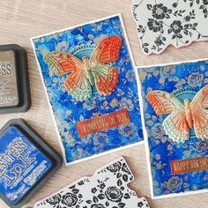 """Leontine Meijer on Instagram: """"I made these two cards the other night. Love the gold embossing powder over the prize ribbon background. I used spray stain and oxide for…"""" Stampers Anonymous, Happy Birth, Embossing Powder, Ribbon, Ink, Love, Night, Paper, Stamping"""