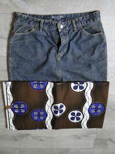 Jupe en jean et wax par LMK - With Wax, sosso, java, bazin. Java, Afro Chic, Couture, Trunks, Skirts, Swimwear, Fabrics, Fashion, Urban Chic