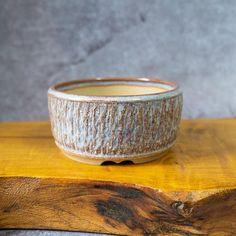 Round Bonsai Pot Handmade With Random Texture in Purple Glaze. | Etsy