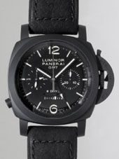 最高級パネライスーパーコピー パネライ時計コピー ルミノール1950 8DAYSクロノ モノプルサンテ GMT PAM00317 44mm シースルーバック ブラック