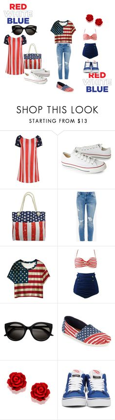 """""""Patriotic"""" by dymebenji on Polyvore featuring Converse, Ted Baker, WithChic, TOMS and Vans"""