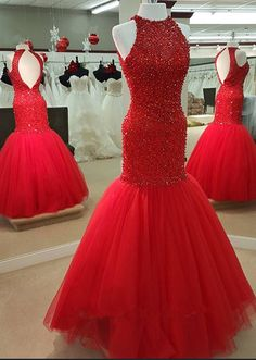 Red Mermaid Prom Dress with Beads