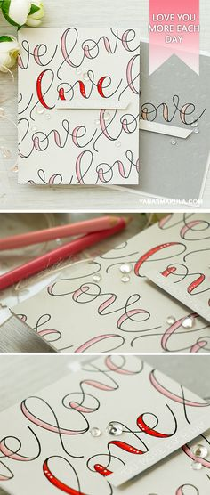 Create quick Valentine's Day cards with Kristina's Love stamp set from Simon. For details, please visit  http://www.yanasmakula.com/?p=56391