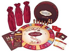 zinzig Wine Tasting and Trivia Game for Wine Parties, Dinners, Tastings  Zinging is the Wine Tasting and Trivia Game that will challenge your mind and palate. Plan carefully, and plot strategically as the first player to taste their way to the winery wins! This game includes: 6 winemaker pieces, 3 bottle covers for the blind wine tasting, a wine tasting guide, 9 winery deeds, 250 trivia cards, 50 blind wine tasting cards, and one die.  Features : For Two To Six Players Or Teams *For All…