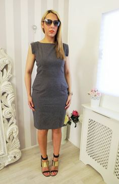 FRENCH CONNECTION Grey Wiggle GALAXY Office SMART Dress M 10 12 | eBay