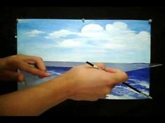 Thousands shades of Blues demo Painting Sea Horizon Impressionist style Acrylic by Rami Benatar - YouTube