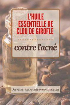 L'huile essentielle de clou de girofle est riche en eugénol qui est un agent actif contre la bactérie associée à l'acné.  Cette huile essentielle est également connue pour sa propriété anti-inflammatoire qui peut elle aussi aider contre le problème.