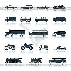 Icons of vehicles - vector clipart