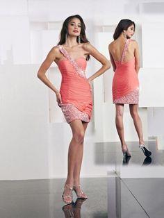 83b861c17b36 Sheath Column One Shoulder Taffeta Short Mini Cocktail Dress With Beading  Short Red Prom