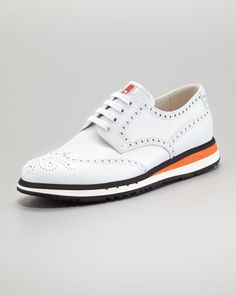 FAVORITE! Must have.  Sneaker-Sole Wing-Tip, White by Prada at Neiman Marcus.