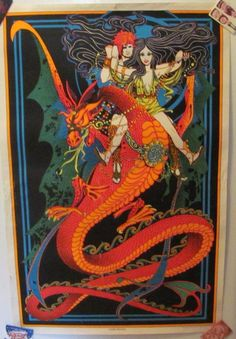 "Early 70's ""Flying Dragon"" Flourescent Blacklight Wall Poster #Vintage"
