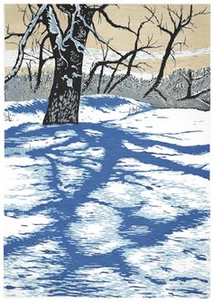 Winter Shadows Linocut print by Theresa Haberkorn Painting Prints, Fine Art Prints, Art Cart, Winter Images, Wood Engraving, Linocut Prints, Woodblock Print, American Artists, That Way