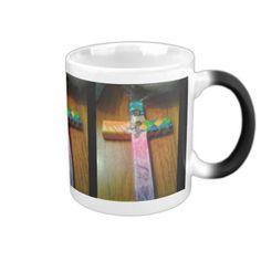 Rainbow cross two angels cup 2 coffee mugs