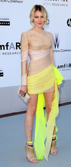 Dree Hemingway in a nude and neon Valentino mini dress